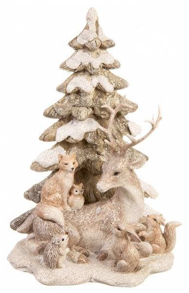 Juletre m. dyr, H 20cm
