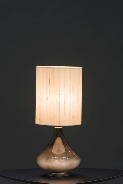 Flavia Pequena negra, Seda Beige H 48cm